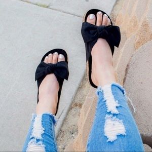 Black Bow Knot Cork Slides Sandals
